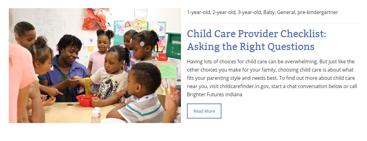 Brighter Futures Indiana Finding quality child care infants toddlers preschool