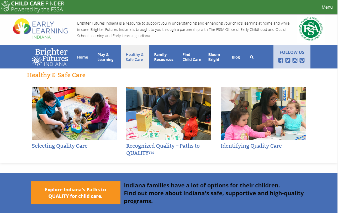 Child care in Indiana Brighter Futures Indiana preschool infants